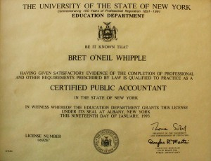 University of State of New York Certified Public Accountant